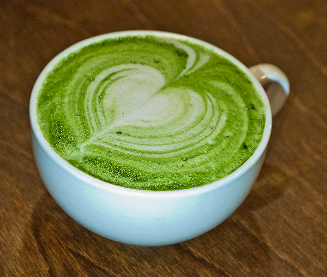 rocking frog serves matcha latte